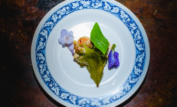 Slow poached shrimp salad / sator beans (thai stink beans) / local sour leafs and edible flowers (by Chef Joe)