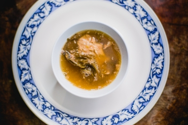 Pork rib soup with smoked dried bitter cabbage and fresh krill (by Chef Van)