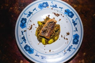 Fresh fish guts and stink bean stew with deep fried jack fish and its bone crumbles (by Chef Van)